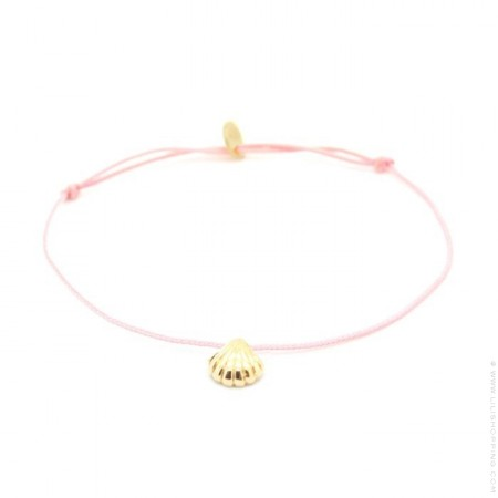 Bracelet coquillage plaqué or lien rose