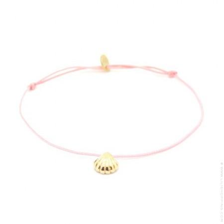 Gold platted seashell pink cord bracelet