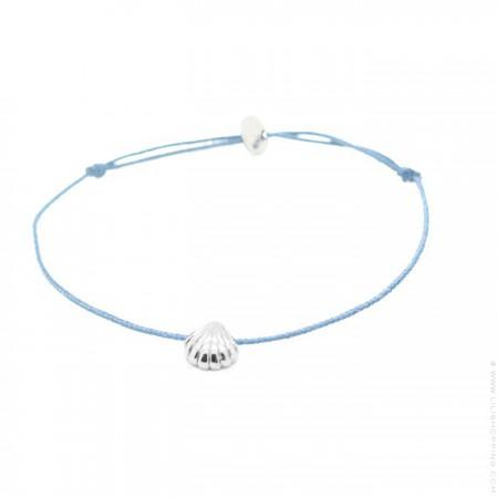 Bracelet coquillage argent lien bleu azur