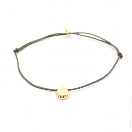 Gold platted seashell taupe cord bracelet