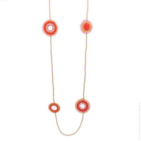 Sautoir Dreamcatcher perlé orange rouge parme