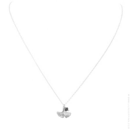 Silver ginkgo biloba leaf necklace