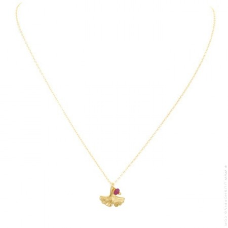 Gold platted ginkgo biloba necklace