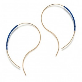 Gold platted wrapped wire curve royal blue earrings
