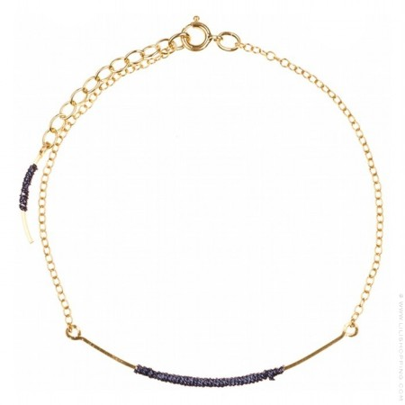 Grey curved wand gold platted bracelet