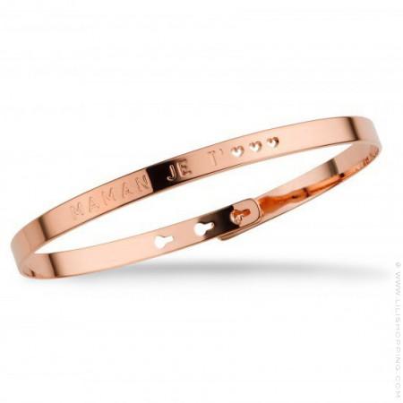 Bracelet Maman je t'♡♡♡ plaqué or rose