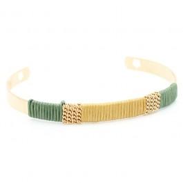 Bracelet tissé beige vert