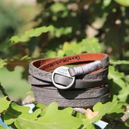 s Good work bracelet cuir//strass noir//argent