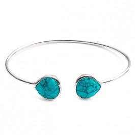 Jonc Athena en argent avec 2 pierres (turquoise)