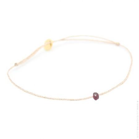 Wine garnet on a lurex Bracelet