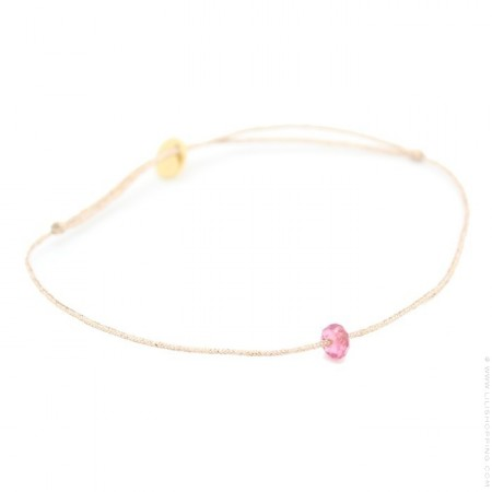 Bracelet tournaline fushia sur lien lurex
