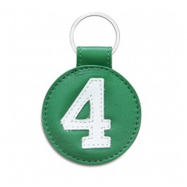 Porte clé en cuir n°4 vert et blanc