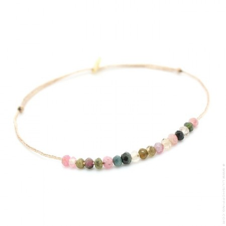 Bracelet Jade multi tourmaline sur lien lurex