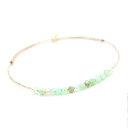 Jade green calchedony on a lurex Bracelet