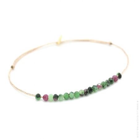 Bracelet Jade zoizite rubis sur lien lurex