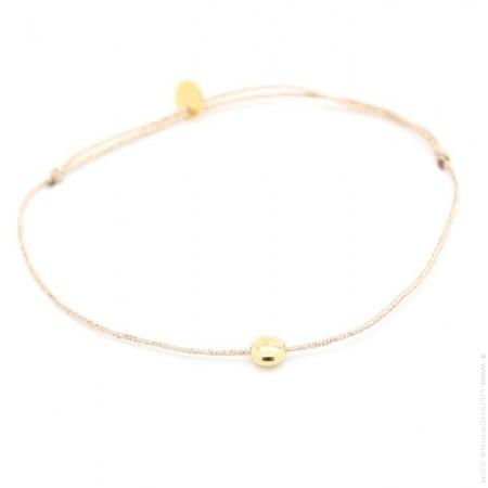 Bracelet lurex et galet plaqué or