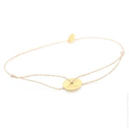 Bracelet lurex et disque plaqué or brossé