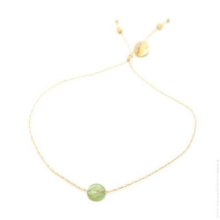 Green tourmaline on a lurex Bracelet