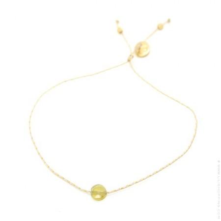 Yellow tourmaline on a lurex Bracelet