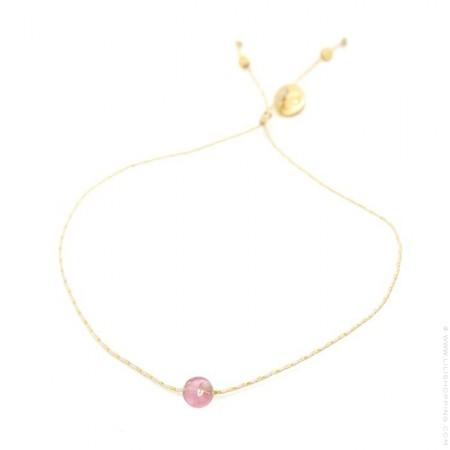 Bracelet tourmaline rose sur lien lurex