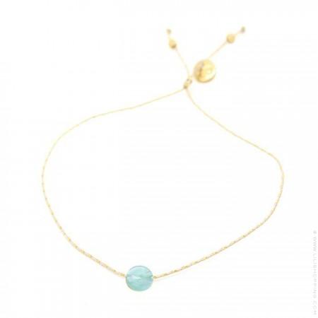 Bracelet tourmaline bleue sur lien lurex