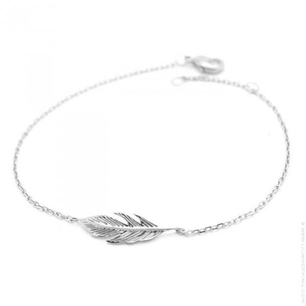 bracelet femme argent plume