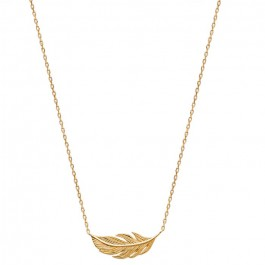 Gold platted feather necklace