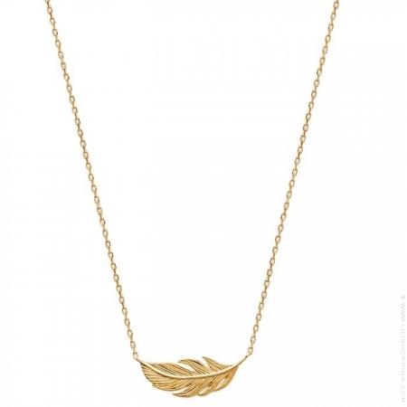 Collier plume plaqué or