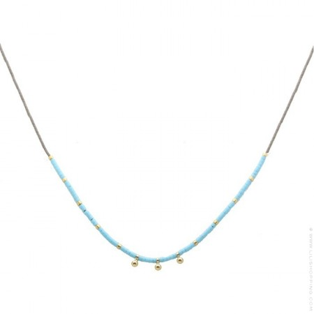 Turquoise miyuki beads and gold platted beads necklace
