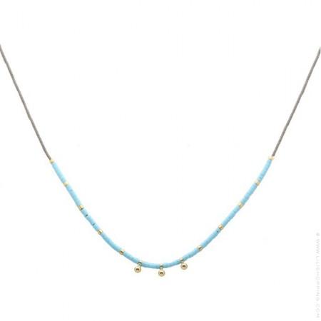 Collier miyuki turquoise et perles plaquées or