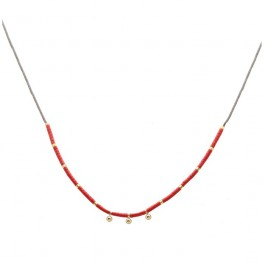 Red miyuki beads and gold platted beads necklace