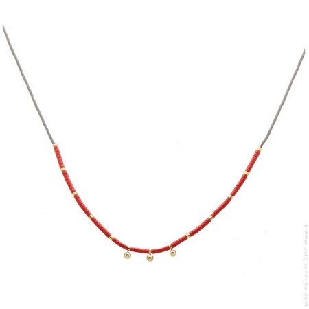 Collier miyuki rouge et perles plaquées or