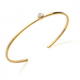 Gold platted bangle with 1 white zirconium