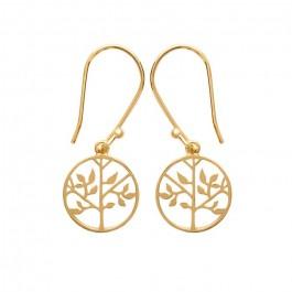 Boucles d'oreilles arbre de vie plaquée or