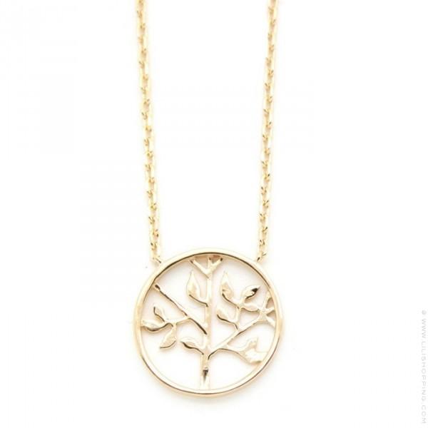 Collier arbre de vie plaqu or lili shopping - Arbre a collier ...