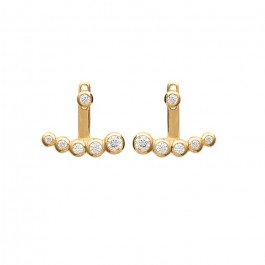 5 strass gold platted earrings