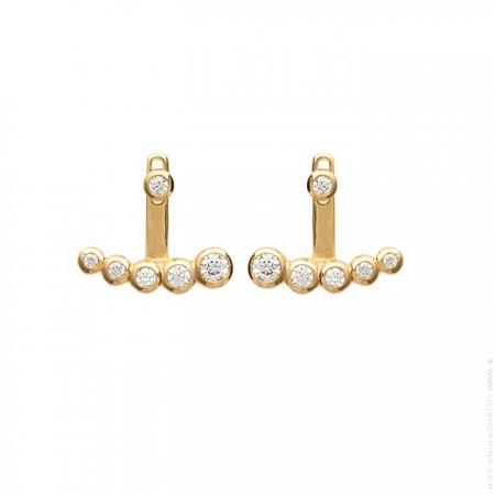 Boucles d'oreilles 5 strass plaquées or