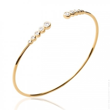 Gold platted bangle with 10 white zirconium