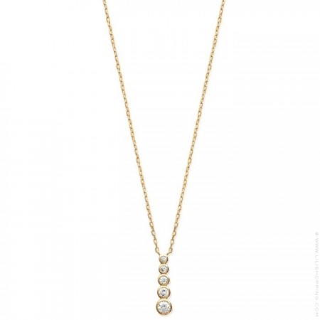 Collier 5 strass plaqué or