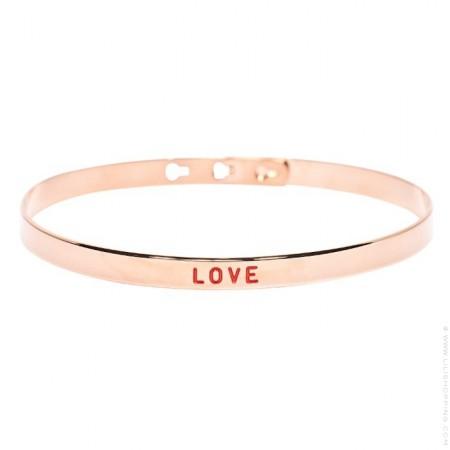 Bracelet painting plaqué or rose Love