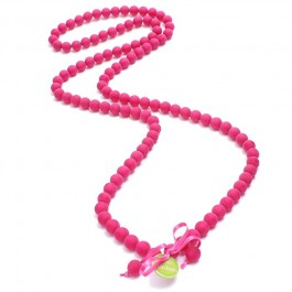 Fushia beads long necklace by Zoe Bonbon