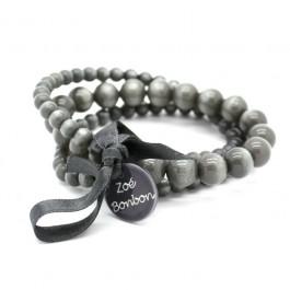 Bracelet triple nacré gris foncé