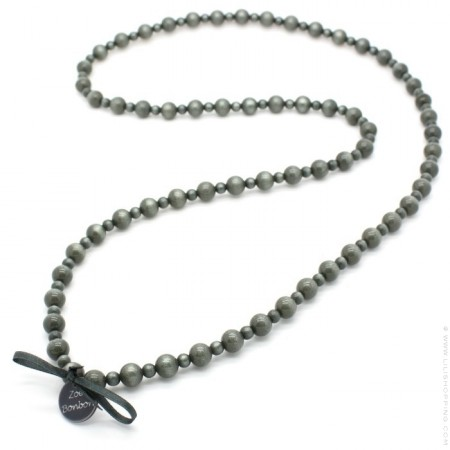 Dark grey Gabrielle long necklace by Zoe Bonbon