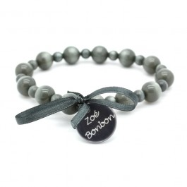 Dark grey Gabrielle pearly beads bracelet Zoe Bonbon