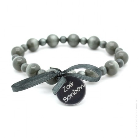 Dark grey Gabrielle pearly beads bracelet Zoe Bonbon