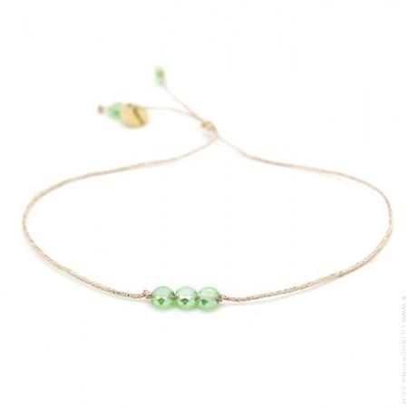 Bracelet perles de cristal vertes