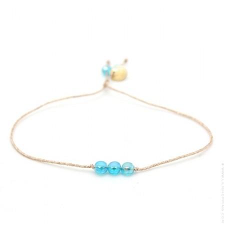 Bracelet perles de cristal bleues