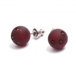 Dark red strassed Zoe Bonbon resin earrings