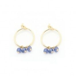 Mini hoop earrings with blue saphir
