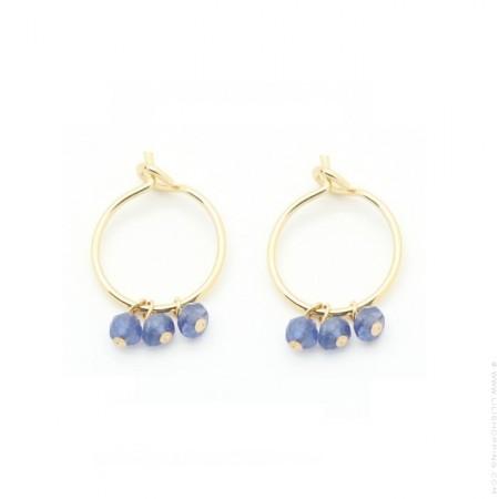 Mini hoop earrings with blue saphir